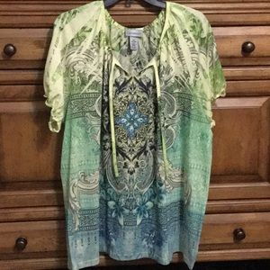 Catherine's Green Blue Sequin Print Knit Top